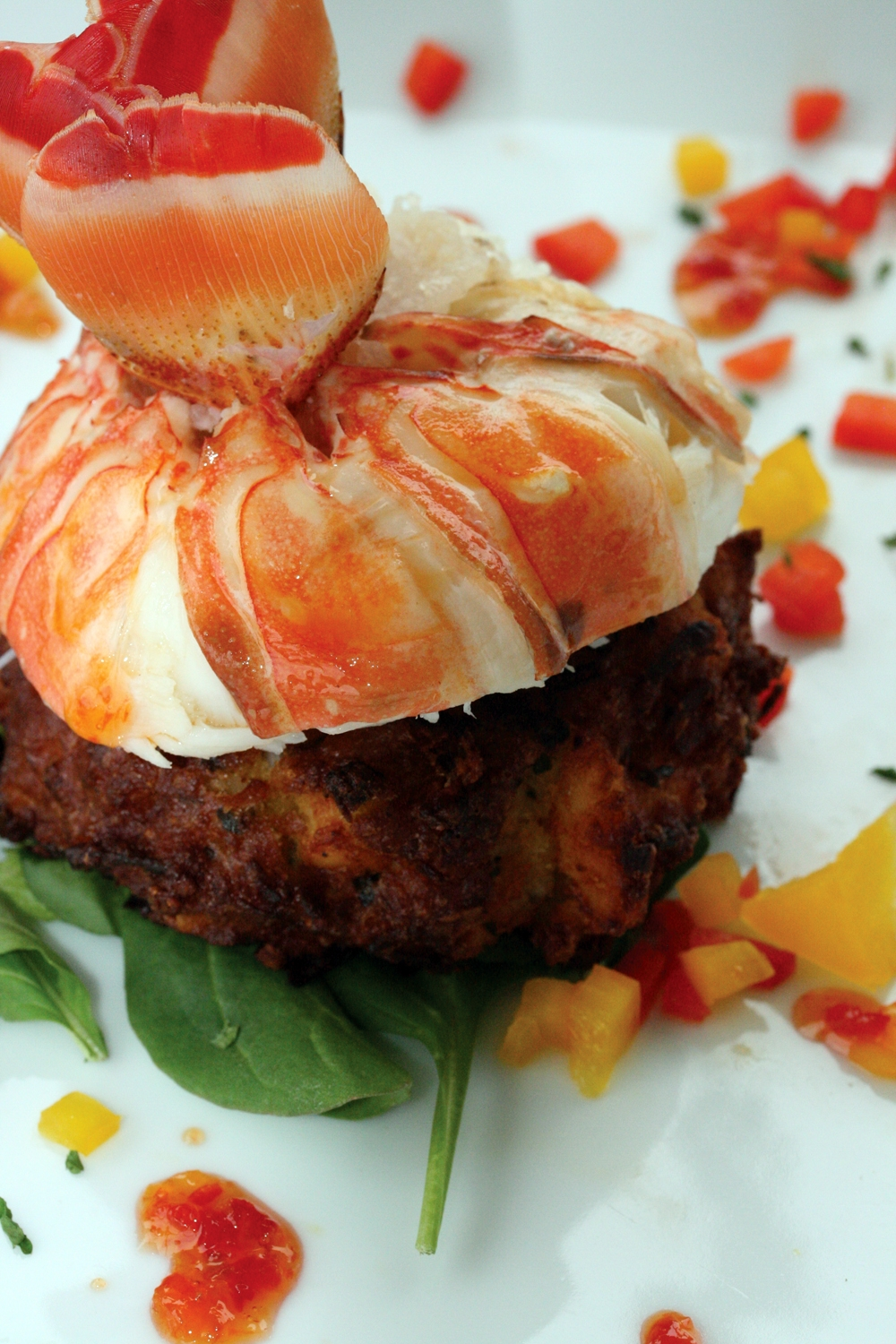 Caribbean Lobster Cake with coconut and curry