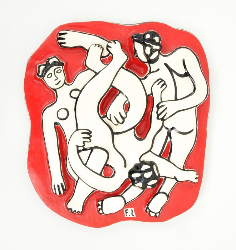 Fernand Leger (French, 1881-1955), Les Acrobates, limited edition ceramic plaque from edition of 250, circa 1950s, provenance includes Estate of Fernand Leger, 19.5in x 17.5in., est. $15,000-$20,000 (PRNewsFoto/Palm Beach Modern Auctions)