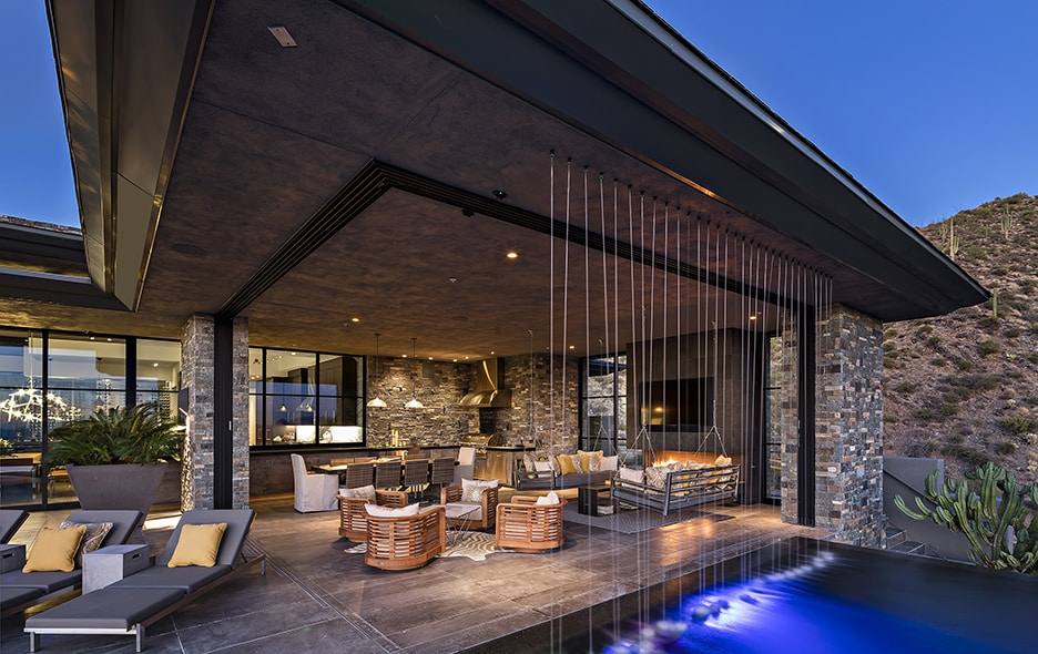 Rain wall at Master suite at Living room view at Lap pool at Floating stairway at Saguaro Forest 244 luxury real estate listing