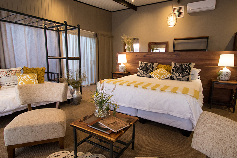 The rooms are comfortable with luxurious amenities at Tiger Canyon