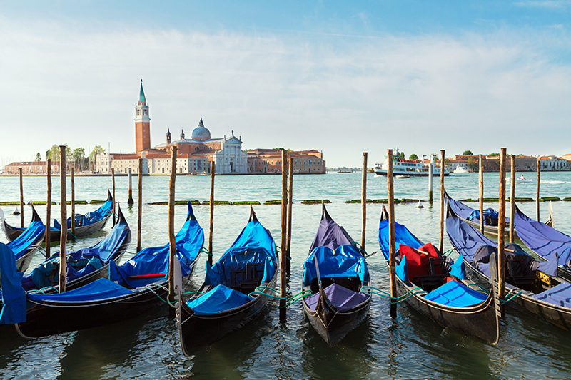 Gondolas floating in the Grand Canal, Venice