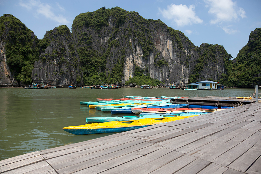Colorful kayaks on the sea in Halong bay Vietnam