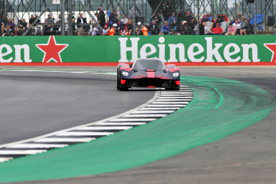 Aston Martin Valkyrie during final practice for the F1 Grand Prix of Great Britain at 2019 Silverstone in Northampton, England.