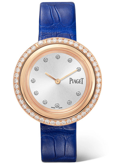 Possession 34mm Rose Gold Alligator and Diamond Piaget Watch