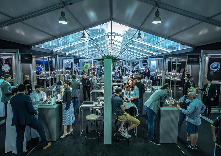 Hall of watches at Dubai Watch Week 2019