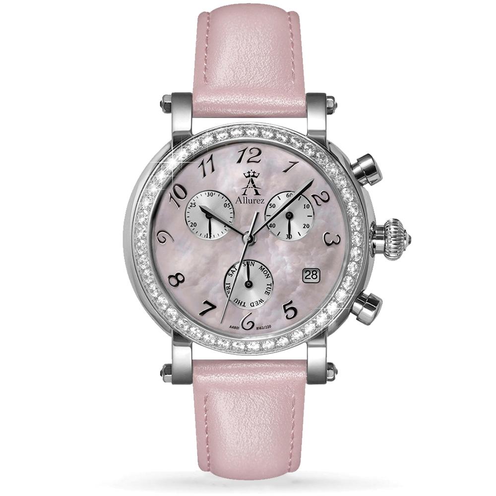 Allurez Women's Pink Mother of Pearl Chronograph Leather Watch