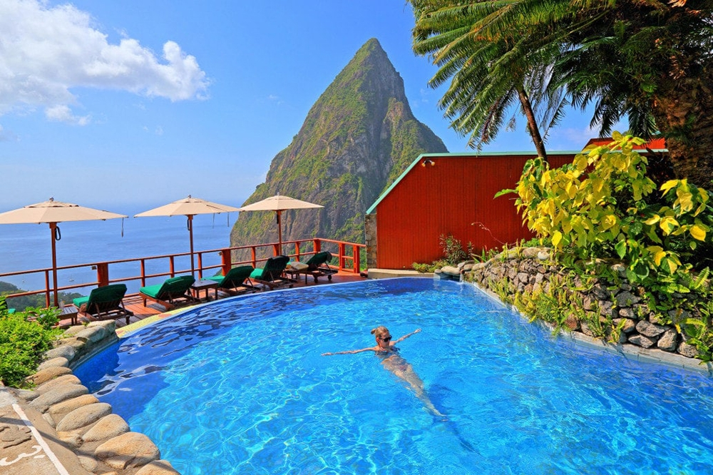 the pool at Ladera Resort in St. Lucia