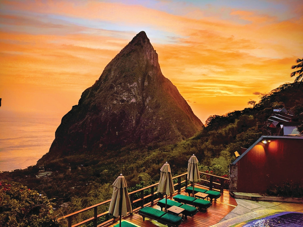 Sunset at Ladera Resort in St. Lucia