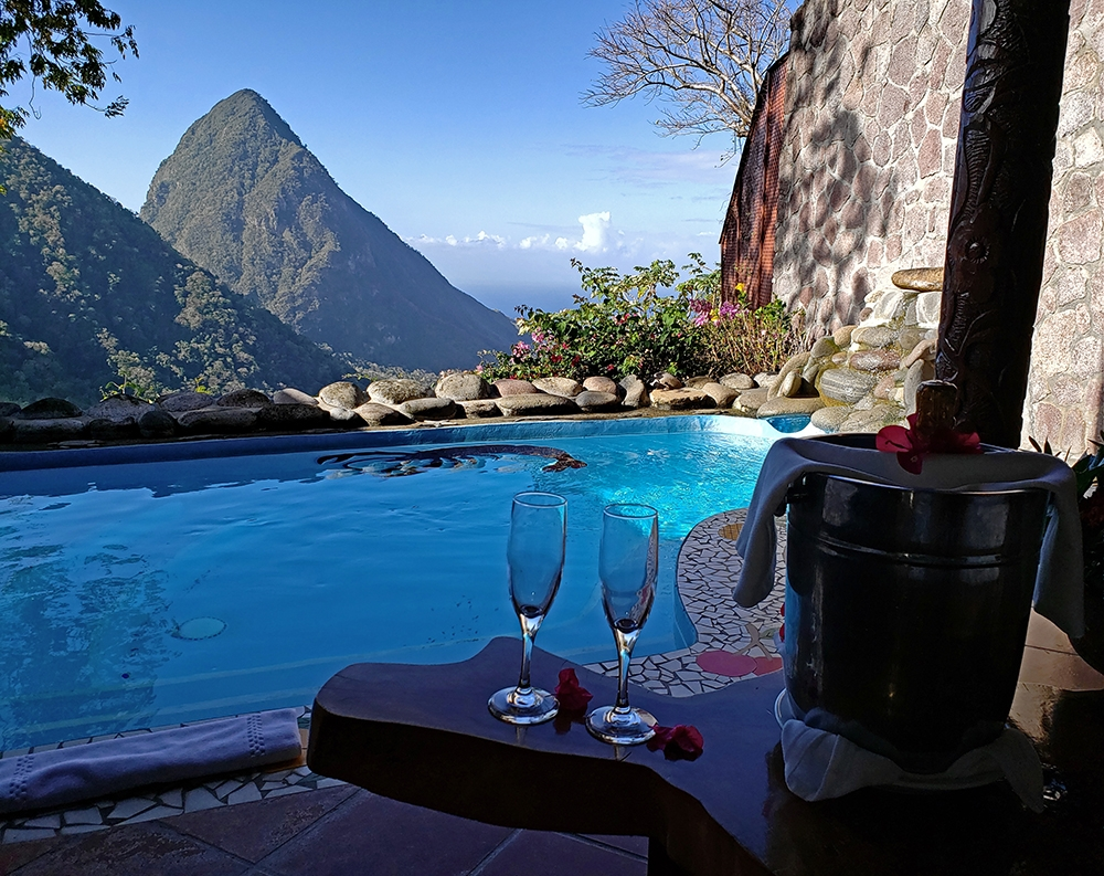 Enjoying wine by the plunge pool at Ladera Resort in St. Lucia