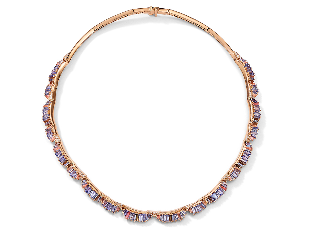 Nak Armstrong 20 karat rose gold Ruched necklace with tanzanite, peach tourmaline, andalusite, and white diamonds, Bridgerton jewels