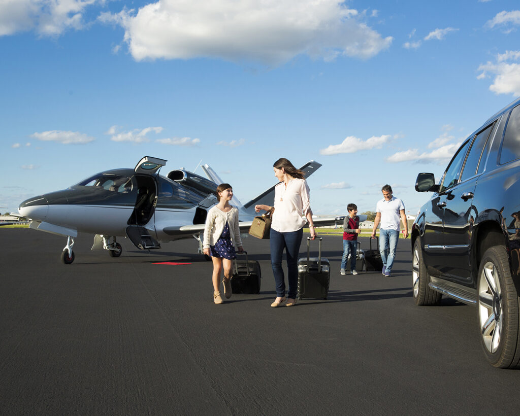 Family arriving in the Cirrus G2 Vision Jet